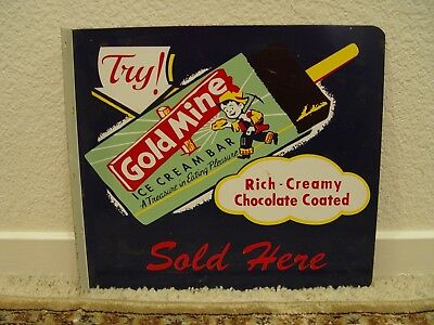 Goldmine Chocolate Ice Cream Bars 2-Sided Metal Advertising Flange Sign