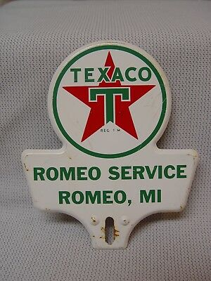 Texaco Gas Oil Romeo Service Michigan Embossed Metal License Plate Topper Sign