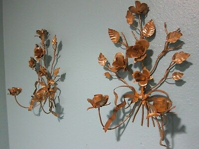 Pair of Vintage Italian Tole Style Gilt Metal Rose Wall Sconce Candle Holder