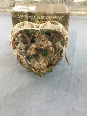 Christmas Holiday Nativity Heart Ornament Joseph Mary And Jesus