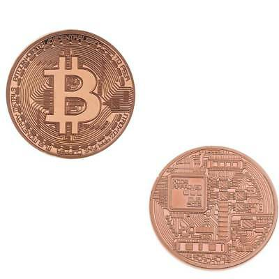 Rosegold Bitcoin Commemorative Round Collectors Coin Bit Coin Gold Plated Coins