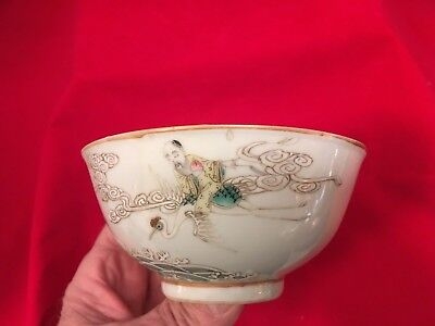 Early Ching Dynasty Bowl marked and painted with Longevity riding a stork