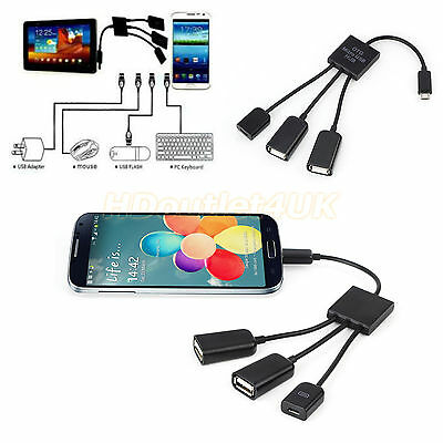 3 in 1 Micro USB OTG Hub Host Extension Adapter Cable For Samsung Galaxy&Tablet