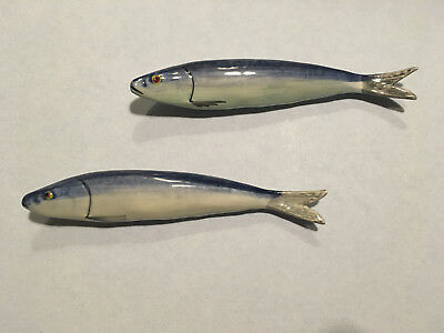 Two Hand Painted Glazed Ceramic Sardines to hang on the wall Made in Portugal