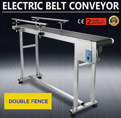 PVC Belt Electric Conveyor Machine With Stainless Steel Double Guardrail Pro