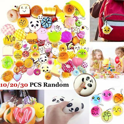 10/20/30PCS Random Kawaii Squishies Bun Toast Donut Soft Bread Squishy Cat Charm