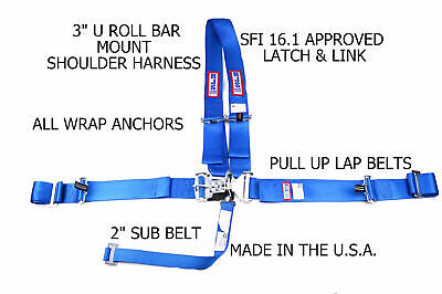 Rjs Sfi 16.1 Latch & Link Harness Dragster U Wrap In 5 Point Blue 1154403