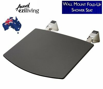 Fold Up Shower Seat Foldable Wall Mount Metal Frame Black Weight Up To 110Kg
