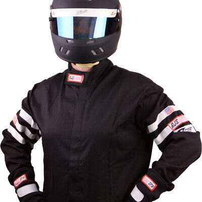 Fire Suit Driving Jacket Black & White Stripes Adult Xl Sfi 3-2A/1 Rjs Racing