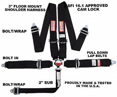 "Cam Lock Floor Mount Racingseat Belt Racerdirect.net 5 Pt 3"" Sfi 16.1  Black"