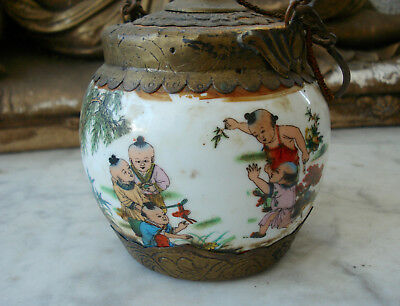 Antique c19th Chinese Opium Pot Vessel Depicting CHILDREN PLAYING Signed