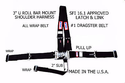 All Wrap Latch & Link Dragster Harness Sfi 16.1 Pull Up Lap Belts Black Rjs 5 Pt