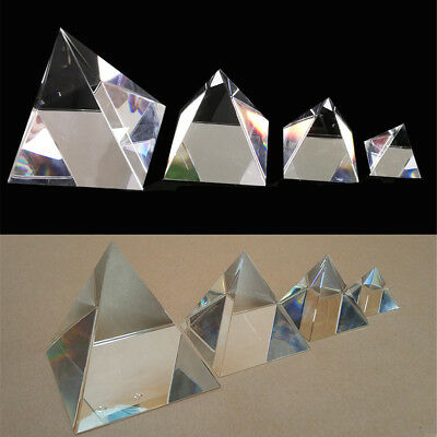 40/60/80/100mm Clear Optical Glass Prism Crystal Pyramid Science Optics Decor