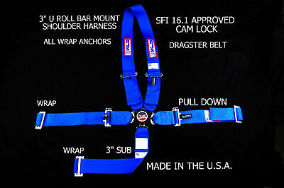 Dragster Harness Rjs Racing Sfi 16.1 Cam Lock U Roll Bar Mount 5 Point Blue