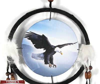 "6.5"" Flying Eagle Dream Catcher With Beads,Fur & Feathers Wall Or Decoration"