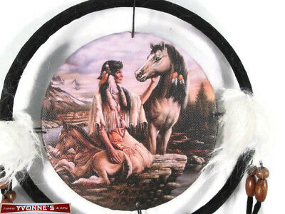 "6.5"" Maiden & Horses Dream Catcher With Beads,Fur & Feathers Wall Decoration"