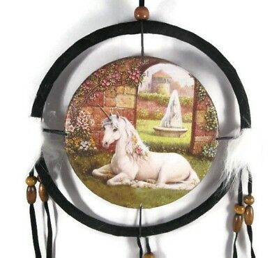 "6.5"" Unicorn In Garden Dream Catcher With Beads,Fur & Feathers Wall Decoration"