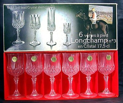 """6 Cristal D'Arques/Durand LONGCHAMP 6½"""" Wines -- Unused with Box & Stickers"""