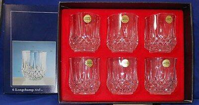 6 Cristal D'Arques/Durand LONGCHAMP Dble Old Fashioneds--Unused w/Box & Stickers