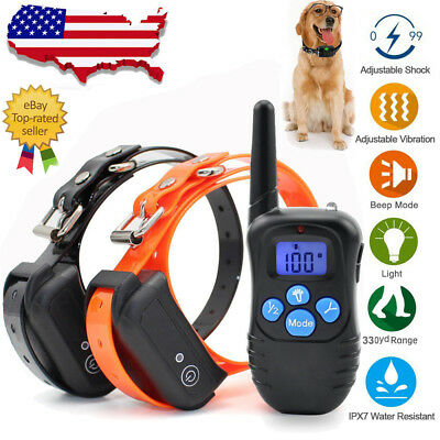 Waterproof Rechargeable 2 Dog Pet Trainer Training Collar Shock Collar W/ Remote