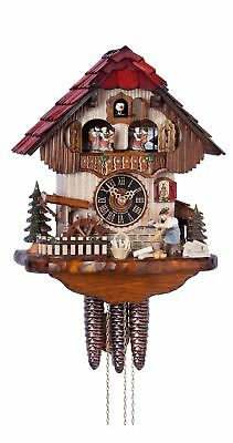 Cuckoo Clock Black Forest house with moving wood chopper and mill.. HO 6211T NEW