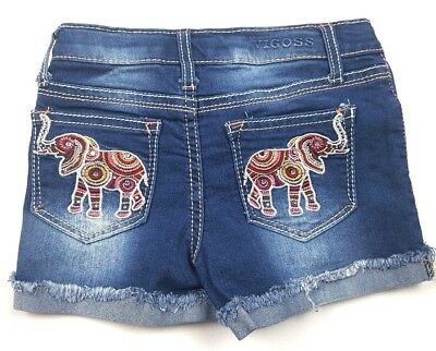 Vigoss Little Girls Size 6 Multicolored Jagger Shorts Elephant Pockets Distress