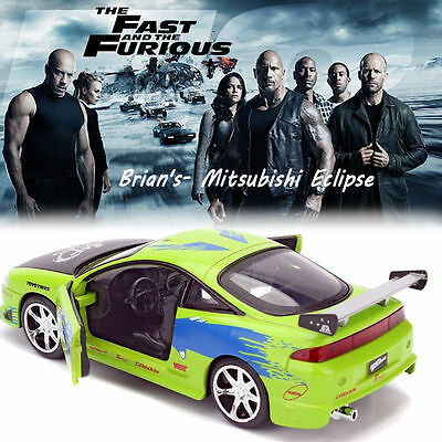 Jada 1:24 Fast And Furious 8 Brian's Mitsubishi Eclipse Diecast Car Vehicle Toy