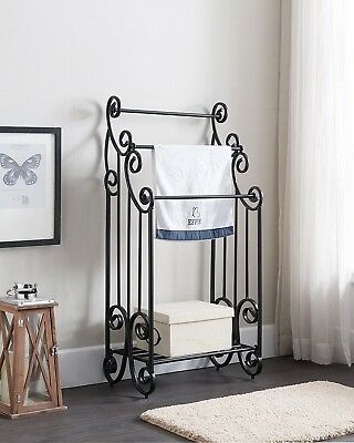 Floor Standing Towel Rack Bathroom Black Vintage Industrial Storage Metal Shelf