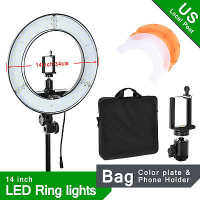 "14"" 55W LED Ring Light Kit Lighting Stand Video Film Continuous Phone Bracket"