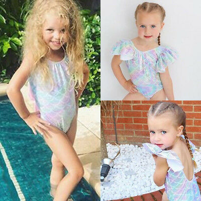 AU Stock Toddler Kids Baby Girls Mermaid Swimsuit Swimwear Bikini Beachwear 0-4Y