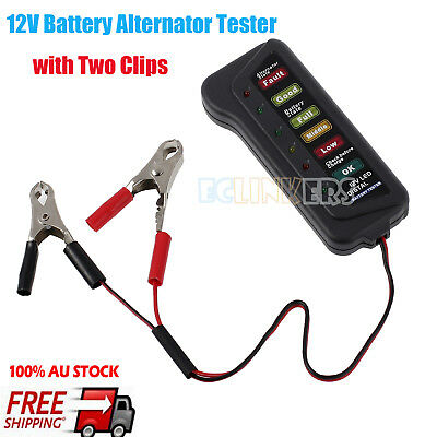 New 12V Digital Battery Alternator Tester 6 LED Lights Car Truck Diagnostic Tool