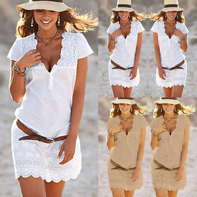 Elegance Women Summer Casual Lace short Sleeve Party Evening Cocktail Mini Dress