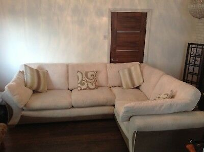 Dfs Beige Corner Sofa With Large Swivel Chair 560 00 Picclick Uk