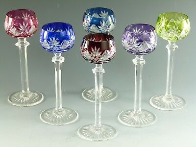 VAL St LAMBERT Crystal - BERNCASTEL Cut - Coloured Liqueur Glasses - Set of 6