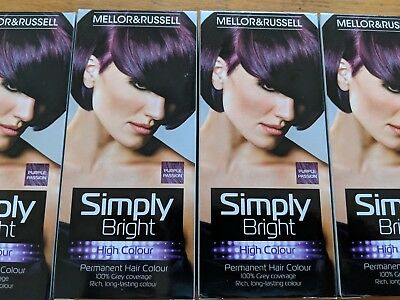 6x Mellor & Russel Simply Bright Purple Passion permanent hair dye FREE POST