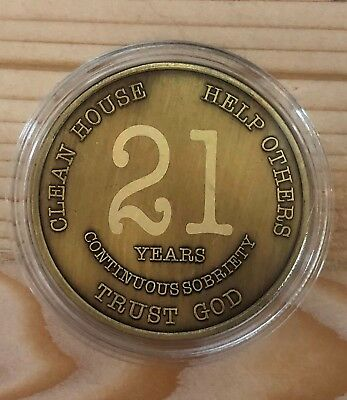 21 Year Bronze Alcoholics Anonymous Coin AA Medallion Bigger Design Free Shippin