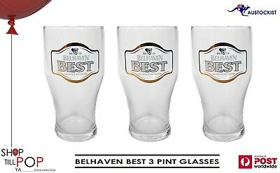 BELHAVEN BEST BEER 3 x IMPERIAL PINT GLASSES 585ml BNWOB SCOTLAND UK  MAN CAVE