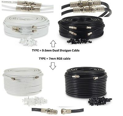 1-50M Satellite F Connector Extension Cable For Sky Lead TV Freesat Virgin HD