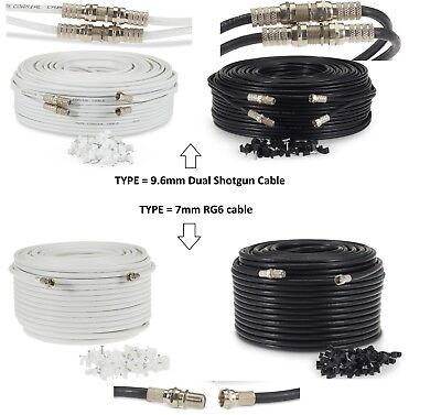 1-50M Satellite F Connector Sky Extension Cable Lead TV Freesat Virgin HD Ready