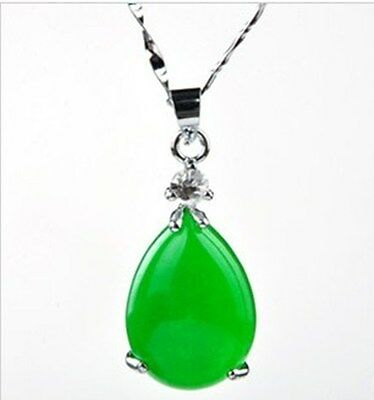 100% Natural Hand-carved Chinese green Jade Tear drop  pendant Silver carving