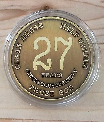 27 Year Bronze Alcoholics Anonymous Coin AA Medallion Bigger Design Free Shippin