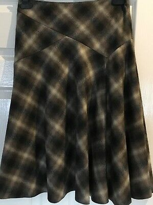PHASE EIGHT Size 10 Brown, Black and Beige Wool SKIRT calf length - lightweight