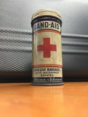 Vintage Johnson & Johnson Round RED CROSS BAND-AID Tin Container