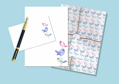 Cute Birds Letter Writing Paper and Envelopes Stationary Set, Penpals Gift Set