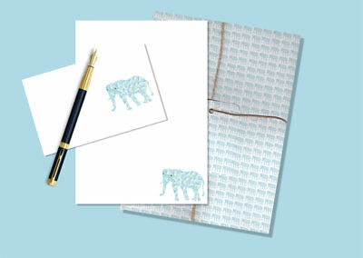 Cute Elephant Letter Writing Paper and Envelopes Stationery Set, Penpal Gift Set