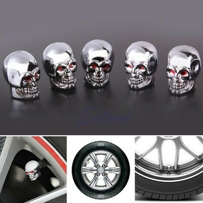New 5 Pcs Red Eyes Evil Skull Tire Air Valve Stem Dust Caps Car Bike Truck