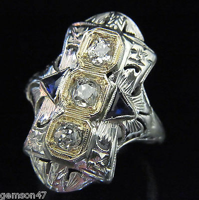 Art Deco Old Mine Cut Diamond Ring 18k Gold Antique Sapphire Vintage Large 1920s
