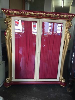 Victorian Gilt/ Red Painted Display Cabinet Vitrine Armoire Lions Heads Gothic