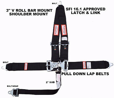 "Drag Racing Sportsman 5 Point Sfi 16.1 Latch & Link 3"" Racing Seat Belt Black"