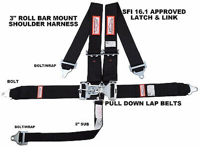 "Racerdirect 5 Point Sfi 16.1 Latch & Link 3"" Racing Belt Black Sportsman Drag"